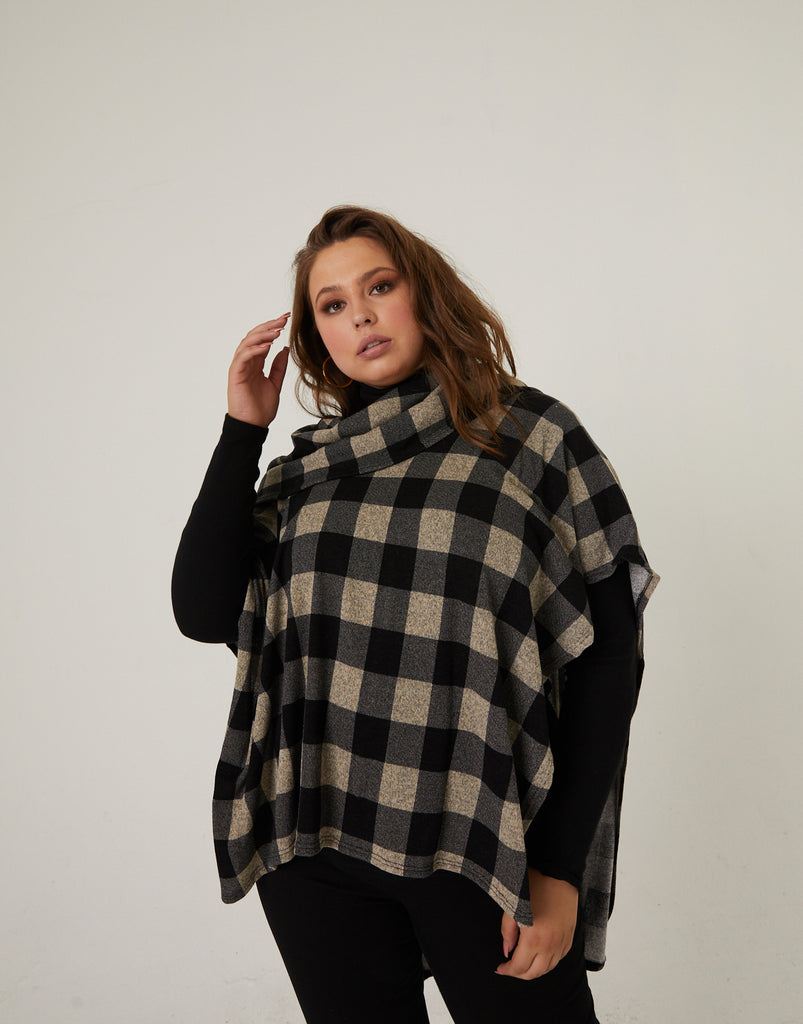Curve Plaid Poncho Top Plus Size Outerwear -2020AVE