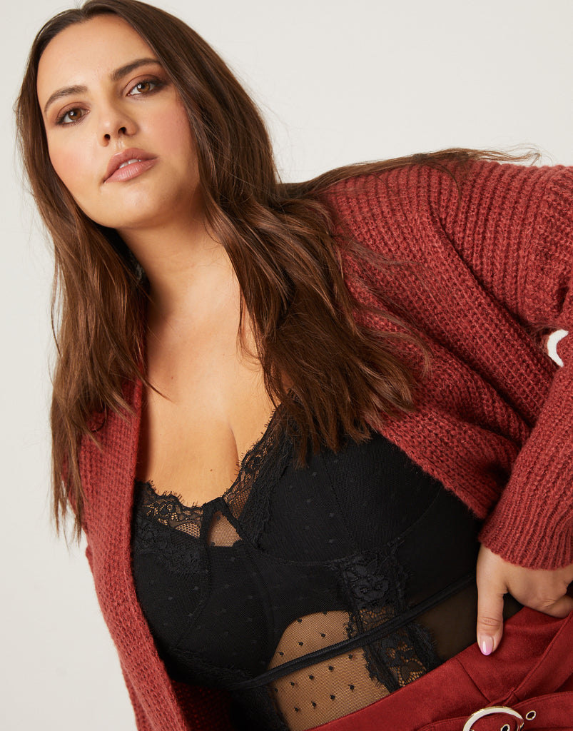 Curve Sheer Lace Bodysuit Plus Size Intimates Black 1XL -2020AVE