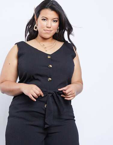 Plus Size Jetsetter Button Up Jumpsuit