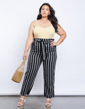 Plus Size Lacy Paper Bag Pants