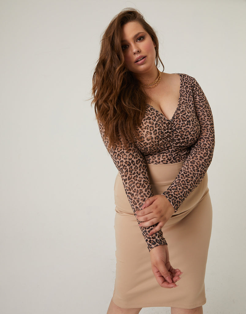 Curve Leopard Mesh Top Plus Size Tops -2020AVE