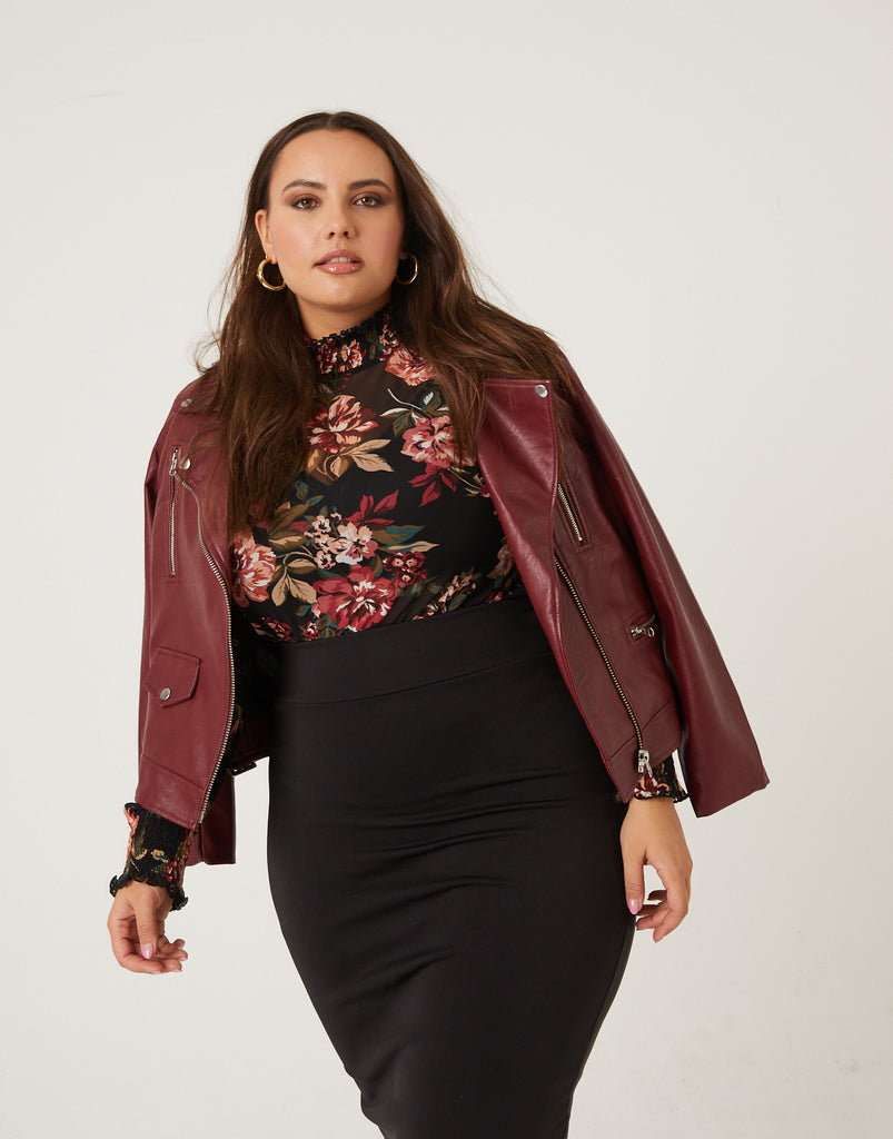 Curve Leather Biker Jacket Plus Size Outerwear Burgundy 1XL -2020AVE
