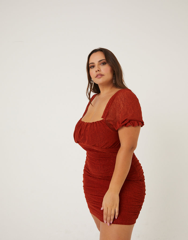 Curve Ruched Capped Sleeve Mini Dress Plus Size Dresses -2020AVE