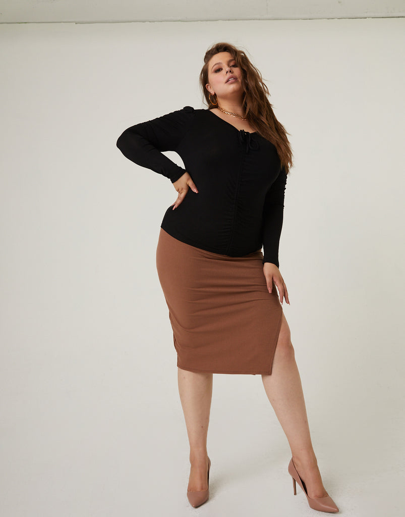 Curve Bodycon Skirt With Slit Plus Size Bottoms Brown 1XL -2020AVE