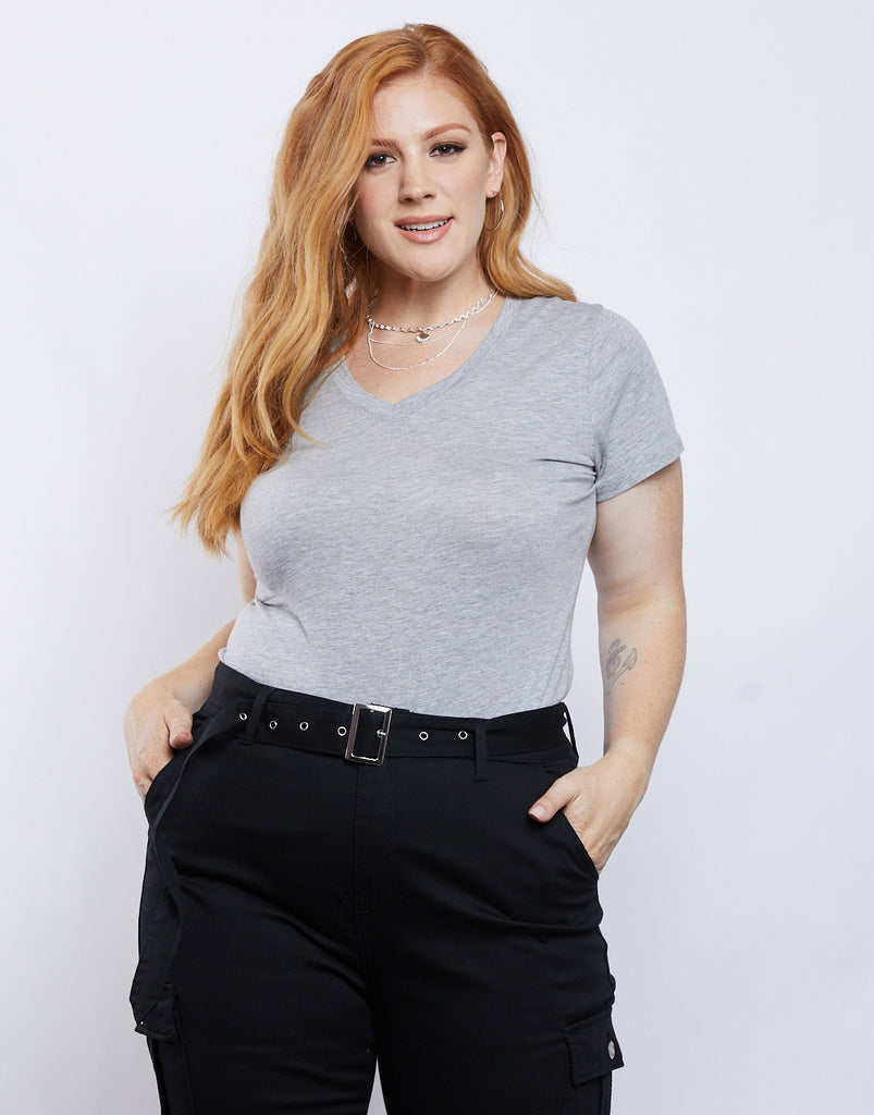 Curve Plain and Simple V-neck Tee Plus Size Tops Heather Gray 1XL -2020AVE