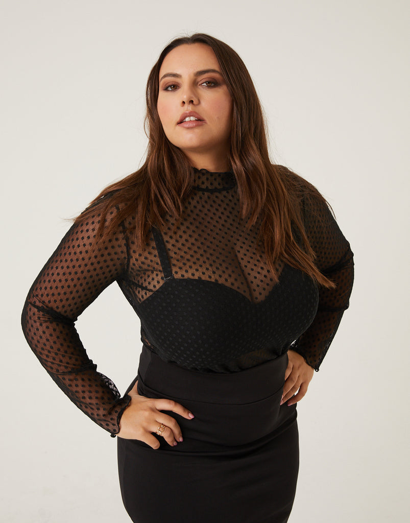 Curve Polka Dot Mesh Top Plus Size Tops Black 1XL -2020AVE
