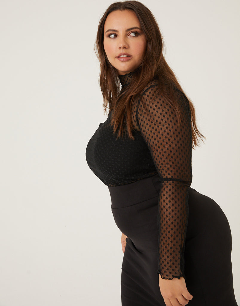 Curve Polka Dot Mesh Top Plus Size Tops -2020AVE