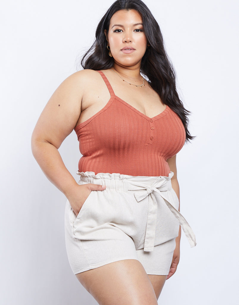 Curve Racer Back Tank Plus Size Tops Terracotta 1XL -2020AVE