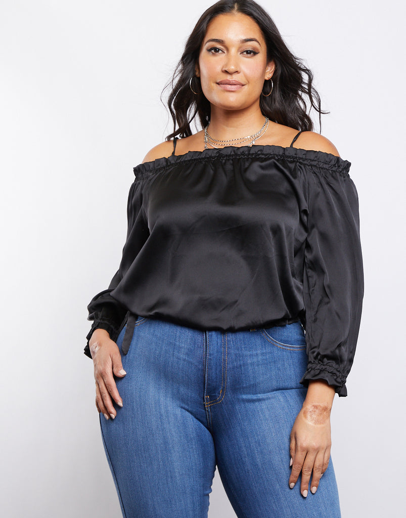 Curve Satin Ruffle Top Plus Size Tops Black 1XL -2020AVE