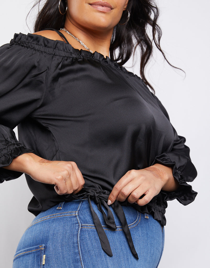 Curve Satin Ruffle Top Plus Size Tops -2020AVE