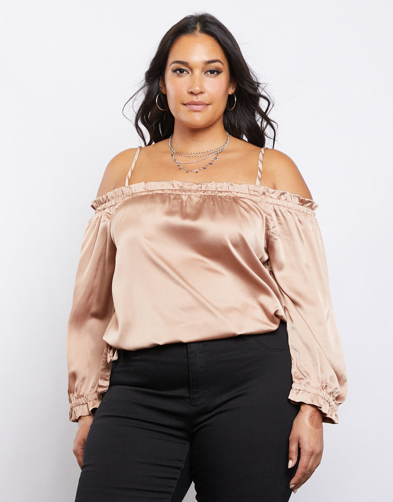 Curve Satin Ruffle Top Plus Size Tops Mauve 1XL -2020AVE
