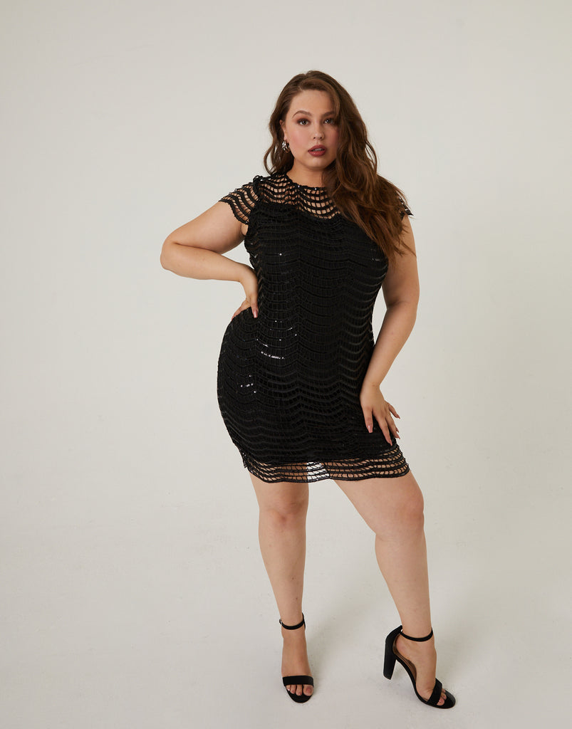 Curve Sequin Dress Plus Size Dresses Black 1XL -2020AVE