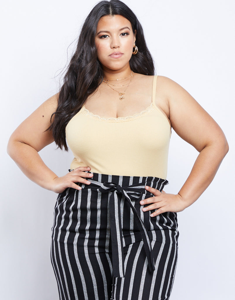 Curve Simple And Sweet Tank Plus Size Tops Yellow XL -2020AVE