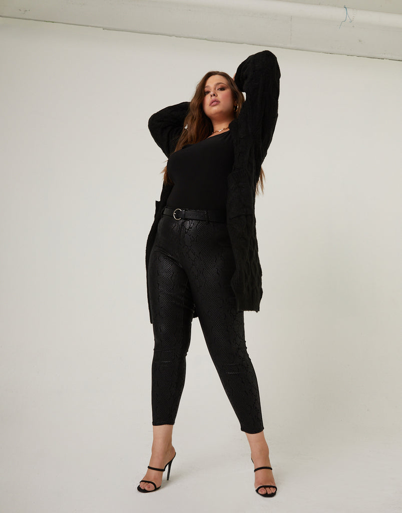 Curve Snake Print Pants Plus Size Bottoms -2020AVE