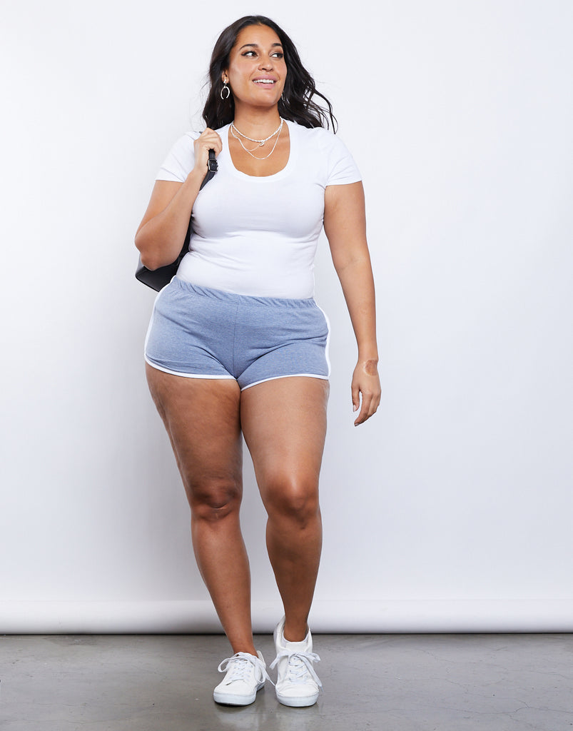 Curve Striped Sporty Shorts Plus Size Bottoms Light Blue 1XL -2020AVE