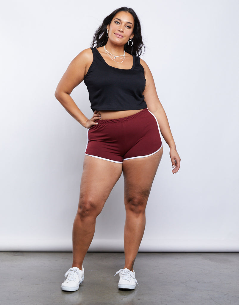 Curve Striped Sporty Shorts Plus Size Bottoms Wine 1XL -2020AVE