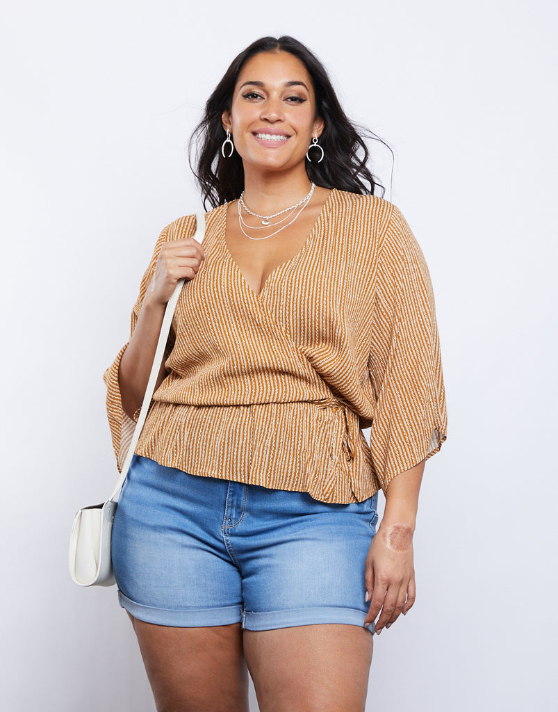 Curve Striped Surplice Top Plus Size Tops Mustard 1XL -2020AVE