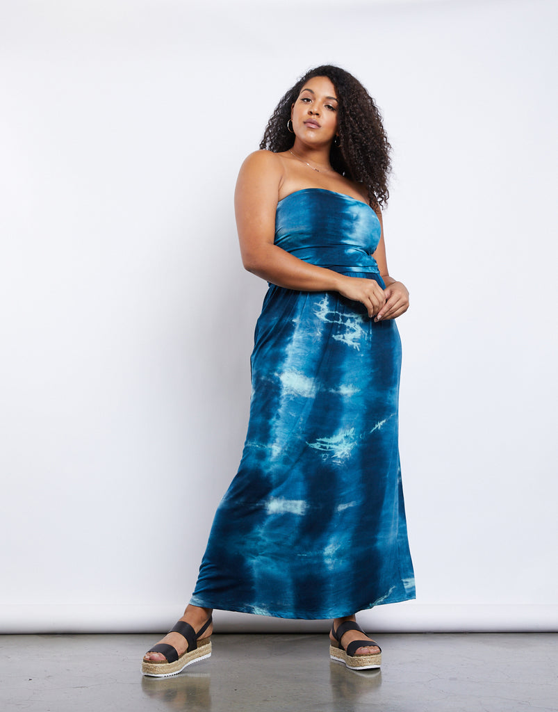 Curve Tie Dye Maxi Dress Plus Size Dresses -2020AVE
