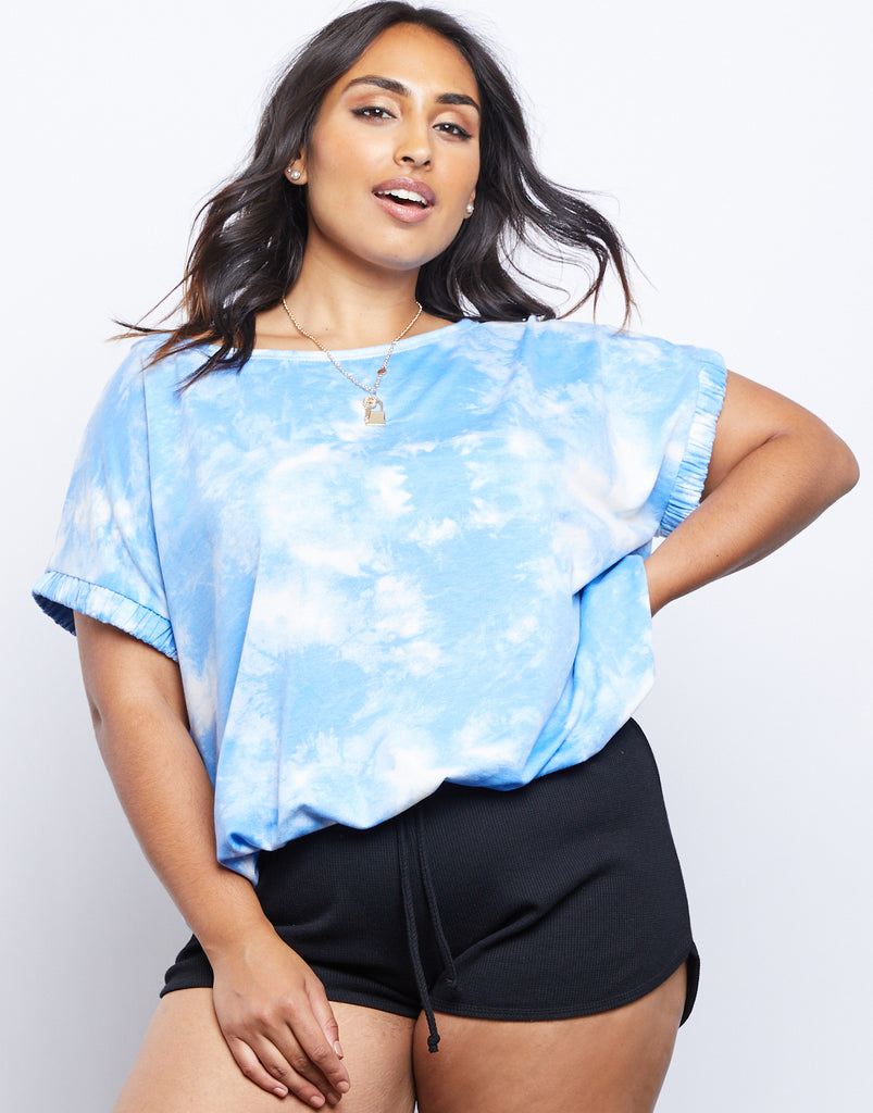 Curve Tie Dye Oversized Tee Plus Size Tops Blue 1XL -2020AVE
