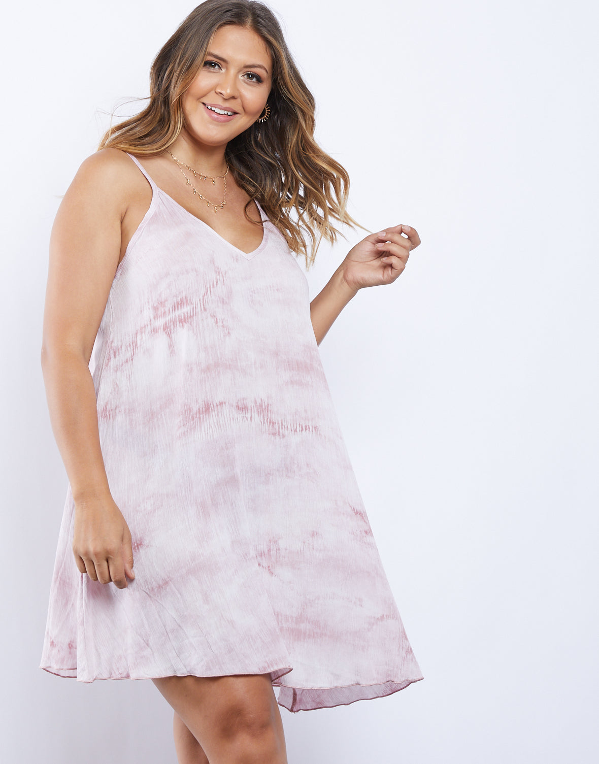 Plus Size Tie Dye Mini Dress