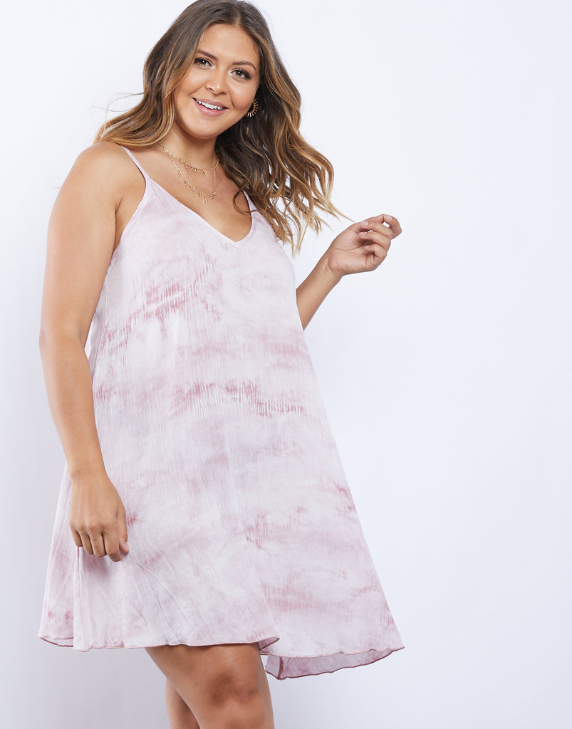 Curve Tie Dye Mini Dress Plus Size Dresses Mauve 1XL -2020AVE