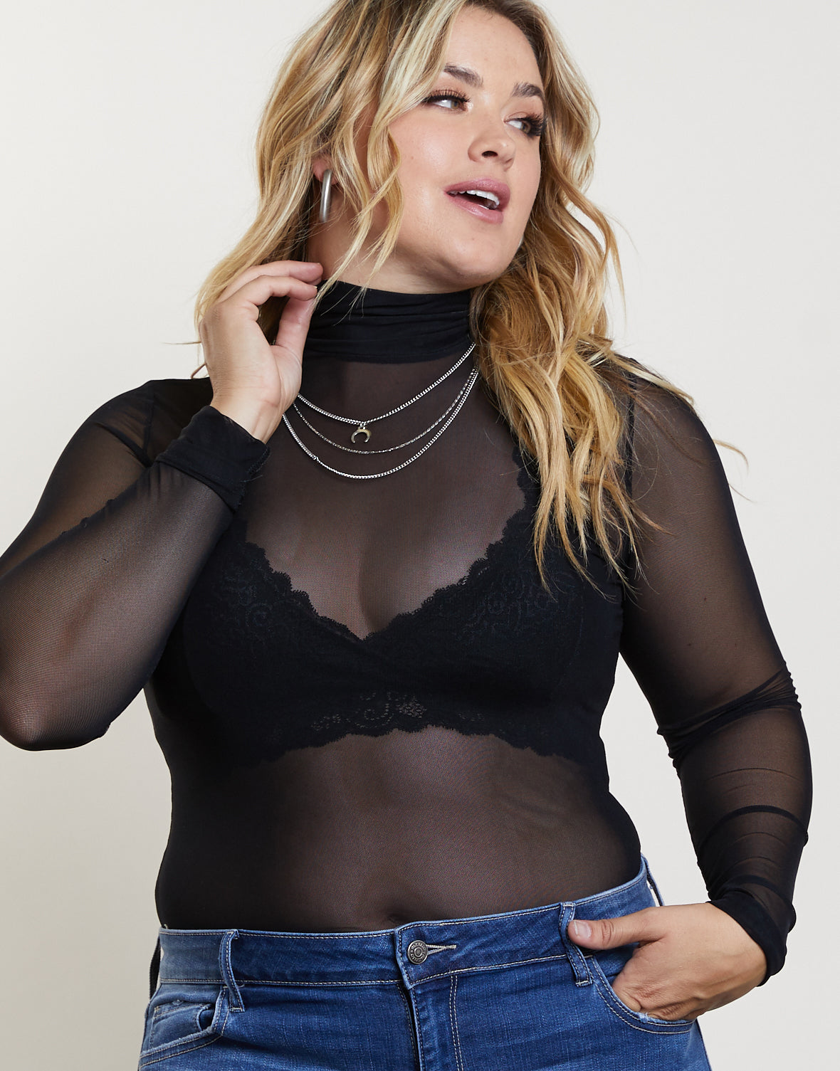 Plus Size A Night Out Sheer Bodysuit
