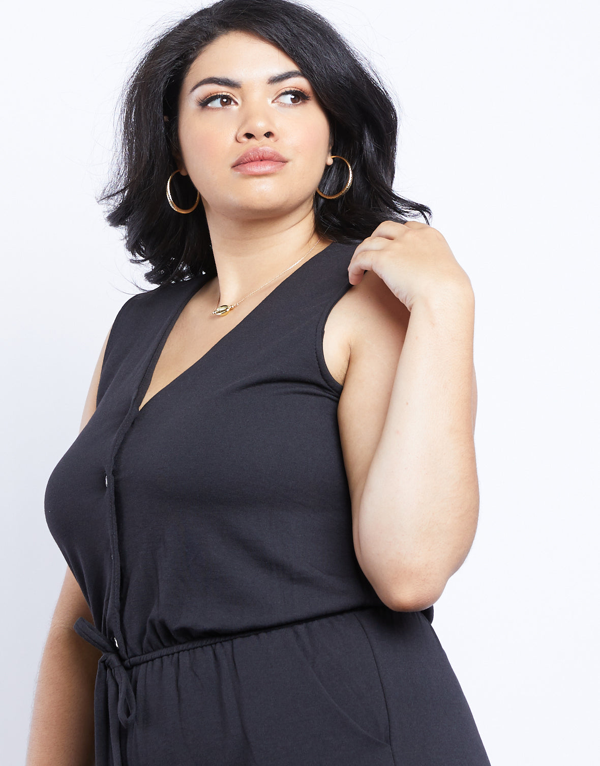 Plus Size Abby Button Front Romper