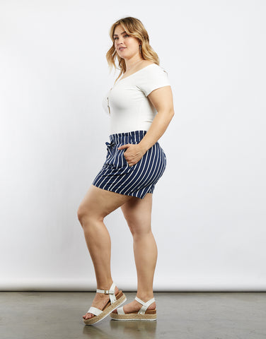Plus Size Alice Pinstriped Shorts