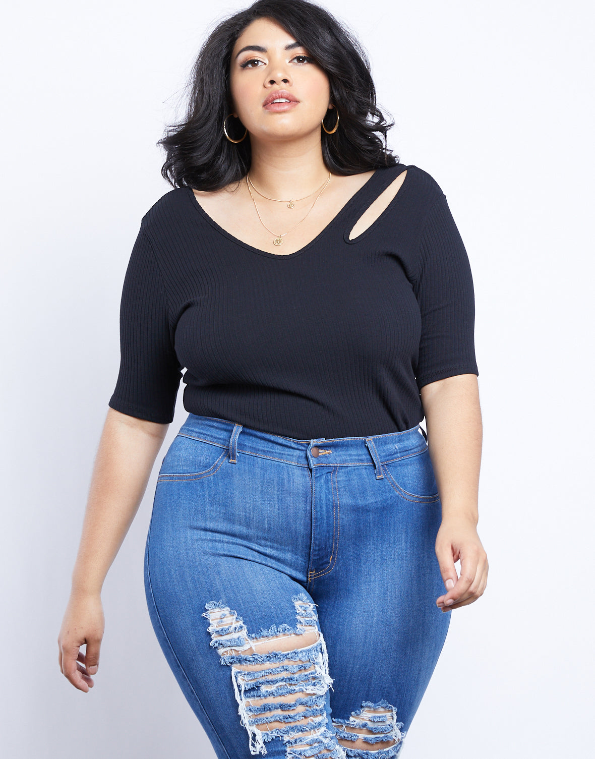 Plus Size Alisha Cut Out Shoulder Top