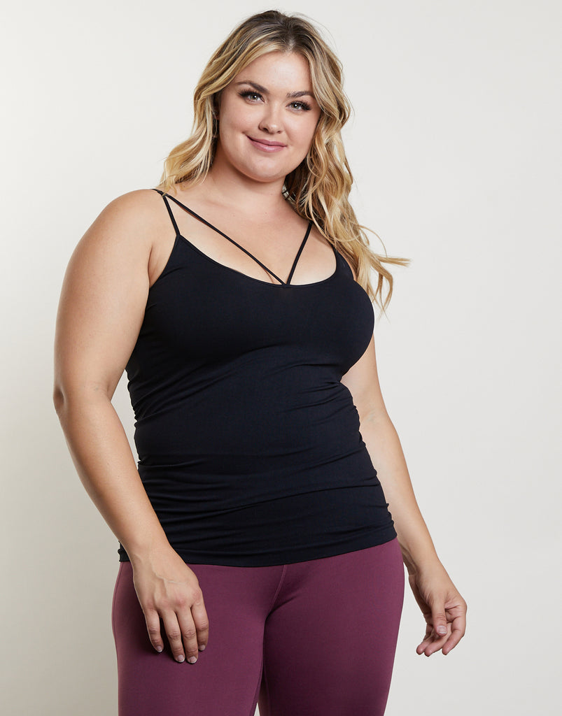 Curve Along The Way Tank Plus Size Tops Black One Size -2020AVE