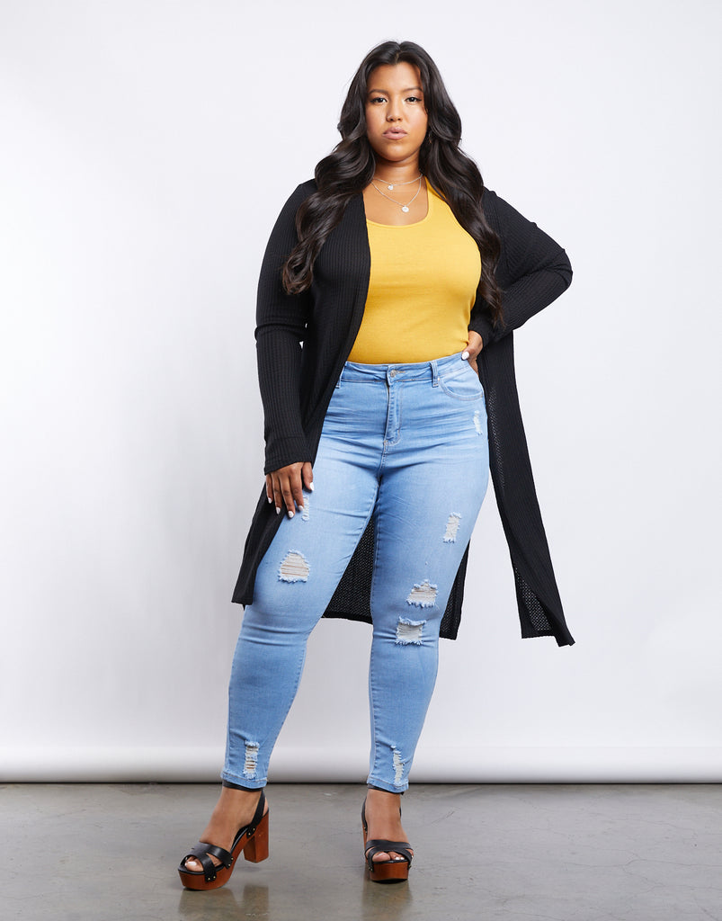 Curve Anna Waffle Knit Cardigan Plus Size Outerwear Black 1XL -2020AVE