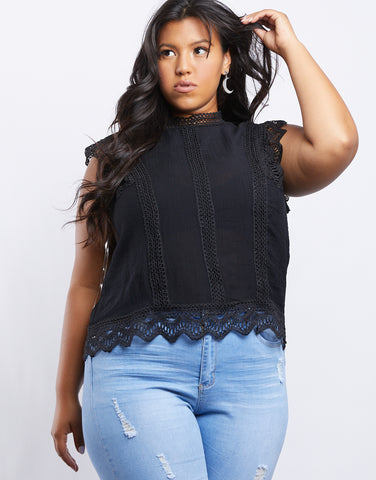 Plus Size Annabelle Lace Trim Top