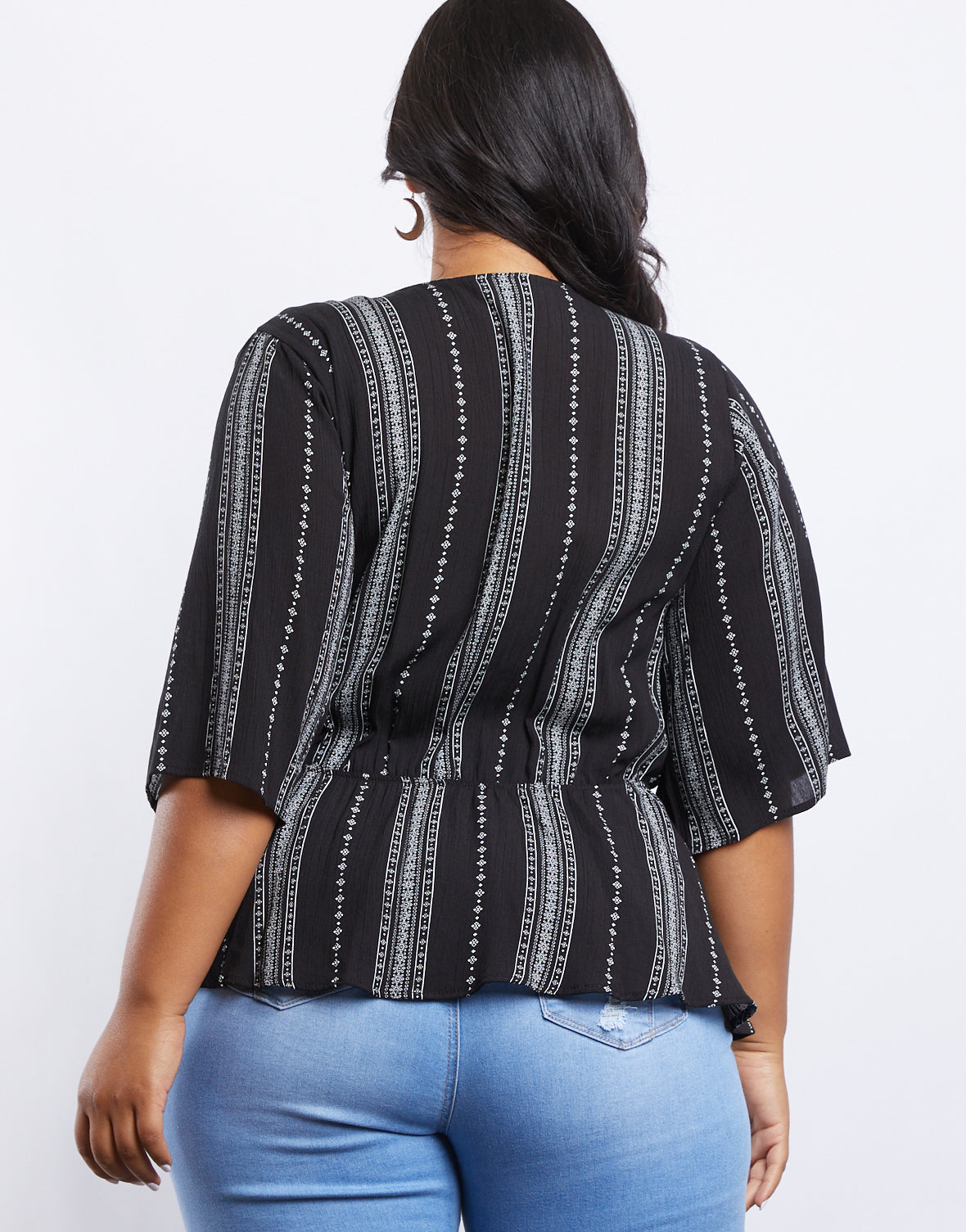 Plus Size Annabelle Patterned Stripe Top