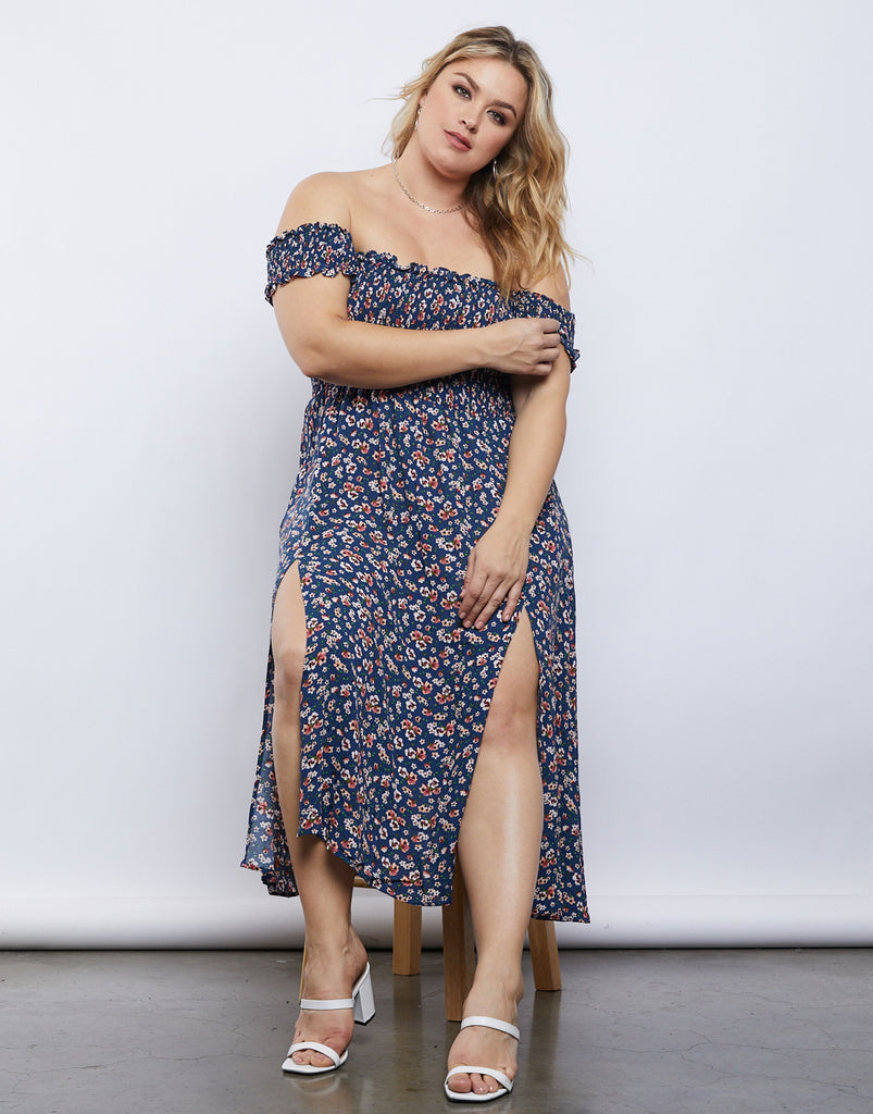 Curve Ashlyn Slit Dress Plus Size Dresses -2020AVE