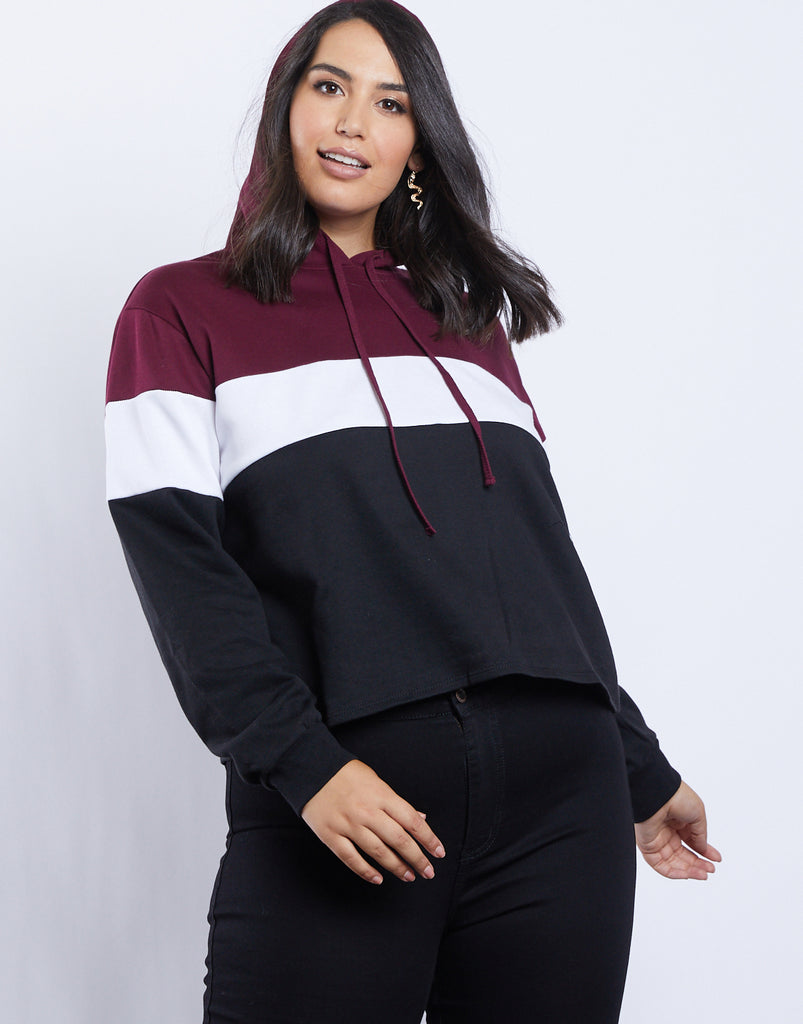 Curve Ava Colorblock Hoodie Plus Size Tops Burgundy 1XL -2020AVE