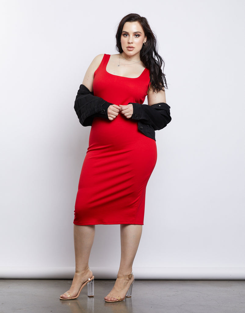 Curve Back Slit Bodycon Dress Plus Size Dresses Red 1XL -2020AVE