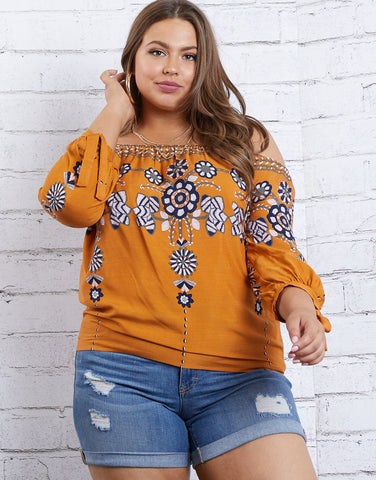 Plus Size Boho Floral Top
