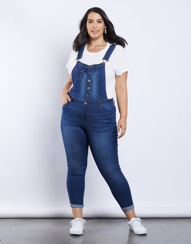 Plus Size Button Front Overalls