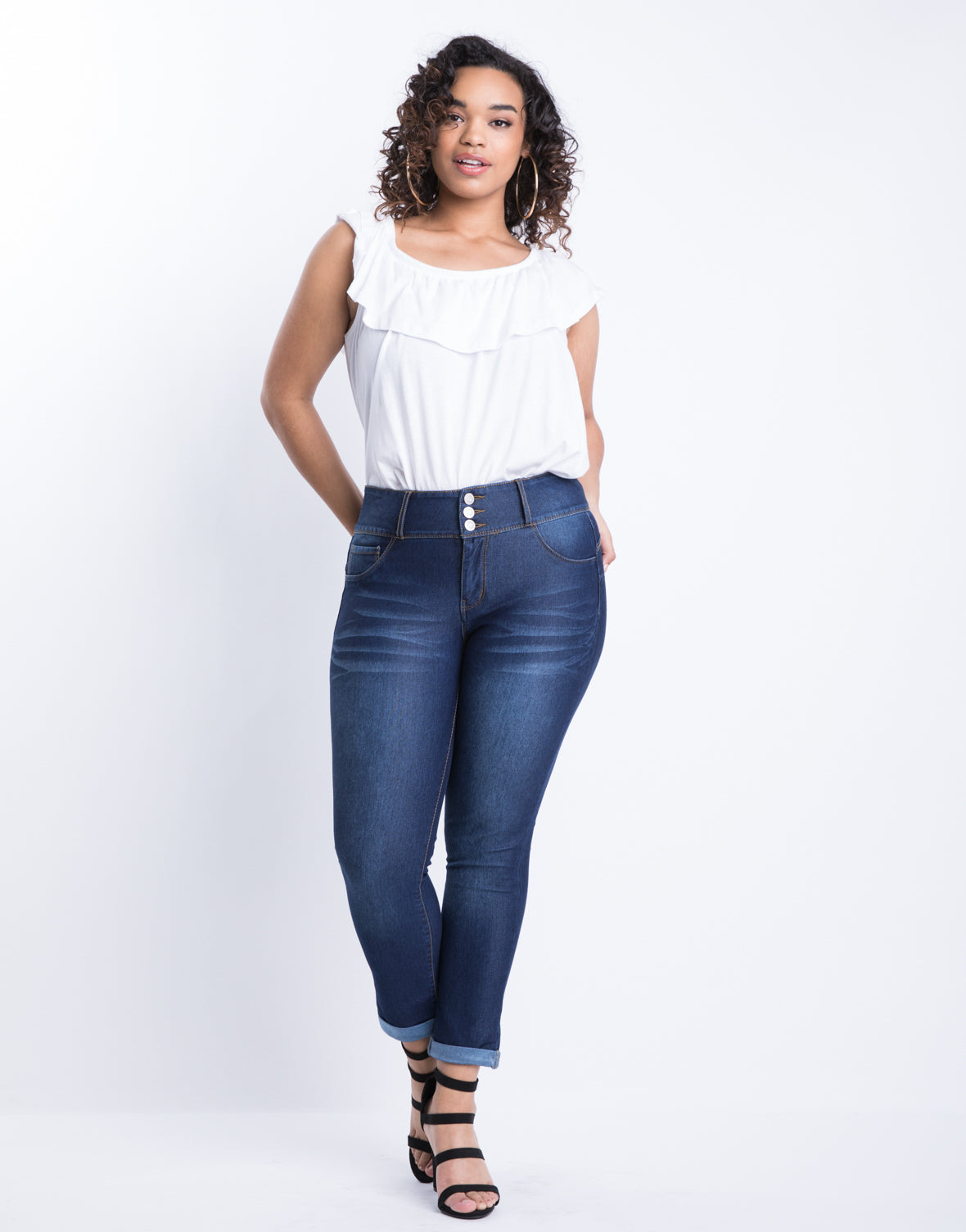 Plus Size Buttoned Up Cuffed Skinny Jeans