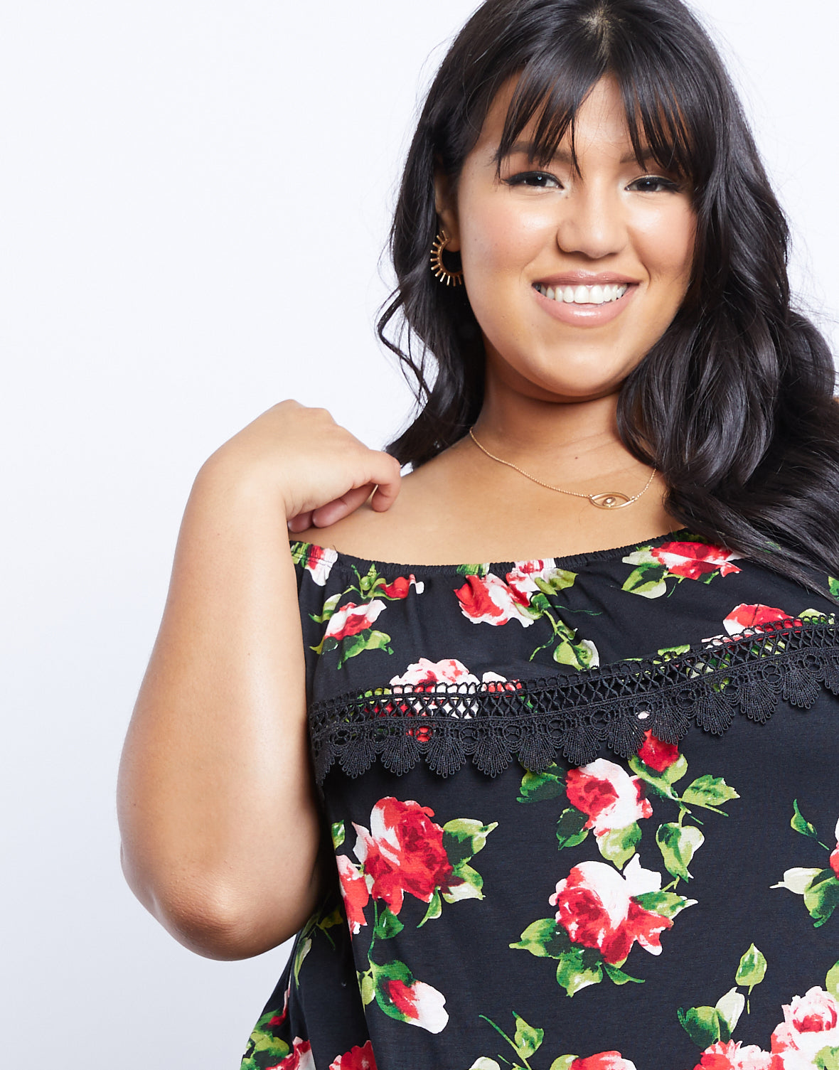 Plus Size Camella Floral Off The Shoulder Top