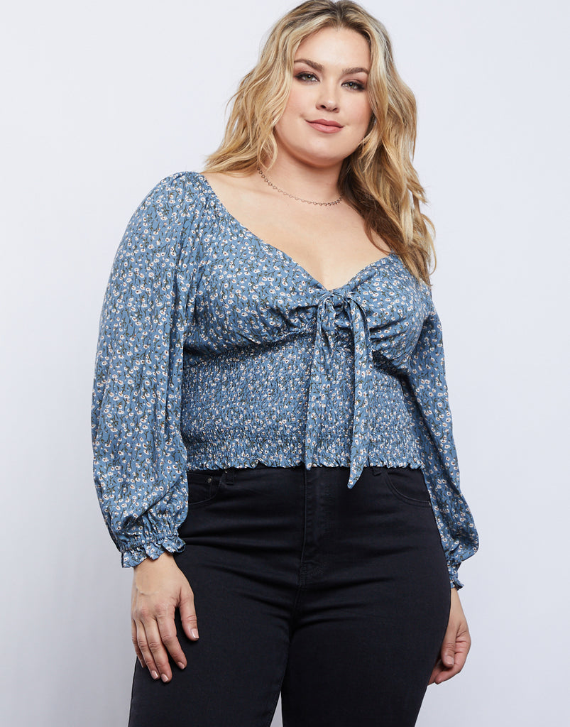 Curve Capulet Front Tie Top Plus Size Tops Light Blue 1XL -2020AVE