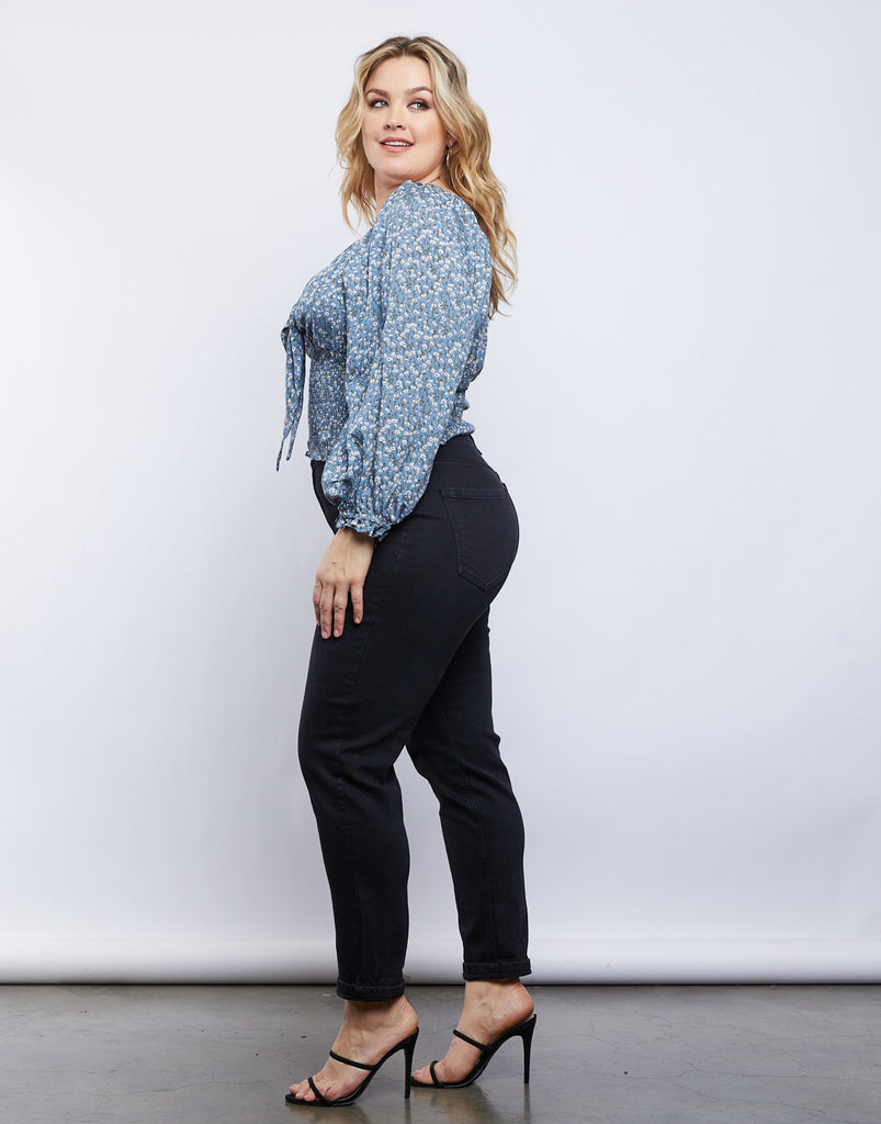 Curve Capulet Front Tie Top Plus Size Tops -2020AVE