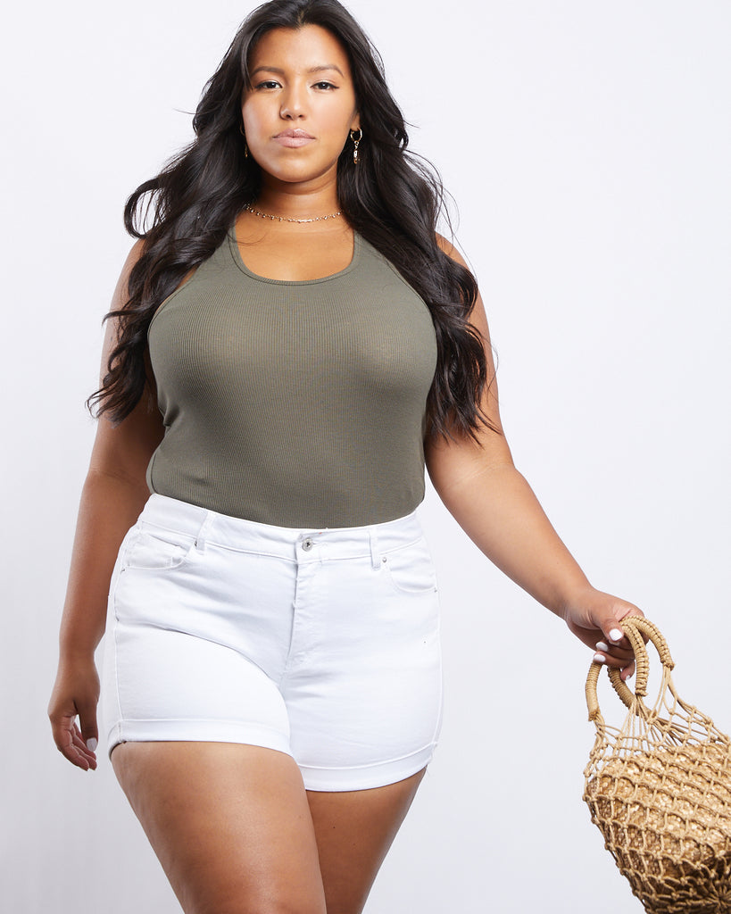 Curve Carly Ribbed Knit Tank Plus Size Tops Olive XL -2020AVE