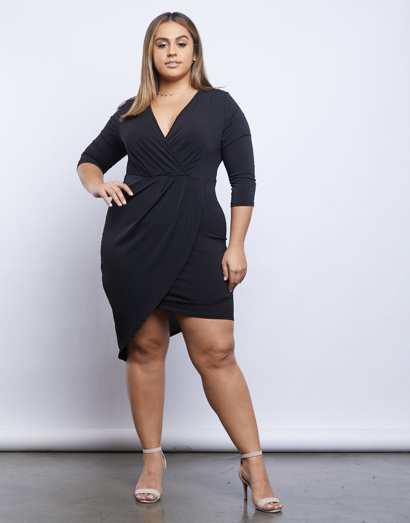 Curve Celeste Asymmetrical Dress Plus Size Dresses Black 1XL -2020AVE