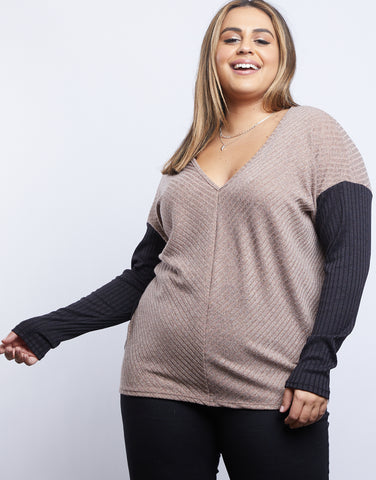 Plus Size Comfy Girl Colorblock Sweater