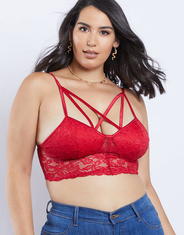 Plus Size Crossover Lace Bralette