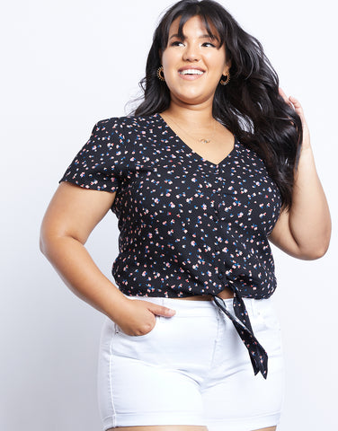 Plus Size Danielle Floral Short Sleeves Top