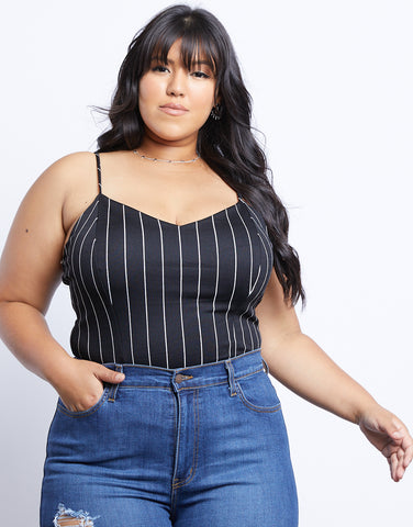 Plus Size Day Trip Striped Tank