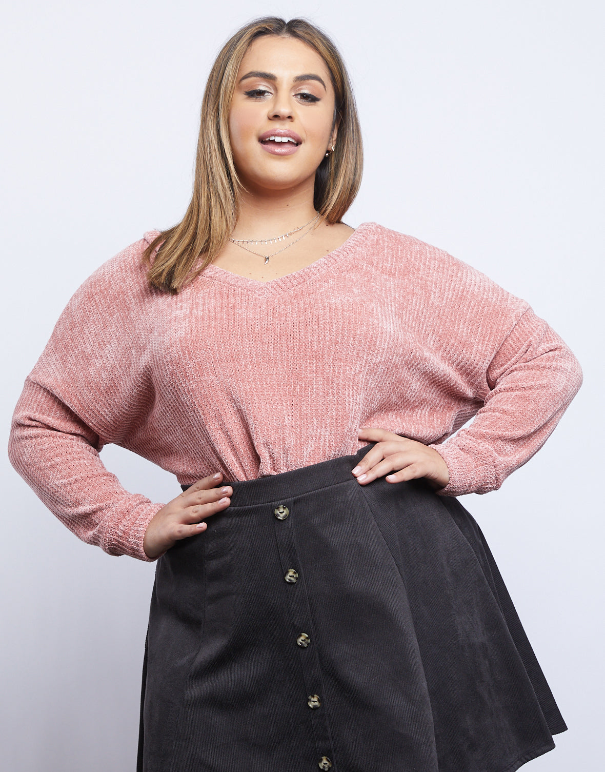 Plus Size Daydreamer Chenille V Neck Sweater