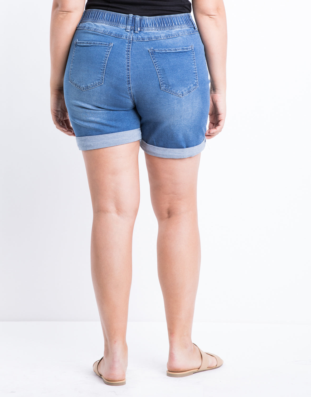 Plus Size Drawstring Denim Shorts